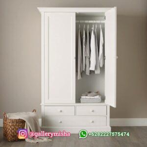 Lemari Pakaian Minimalis 2 Pintu Putih Duco