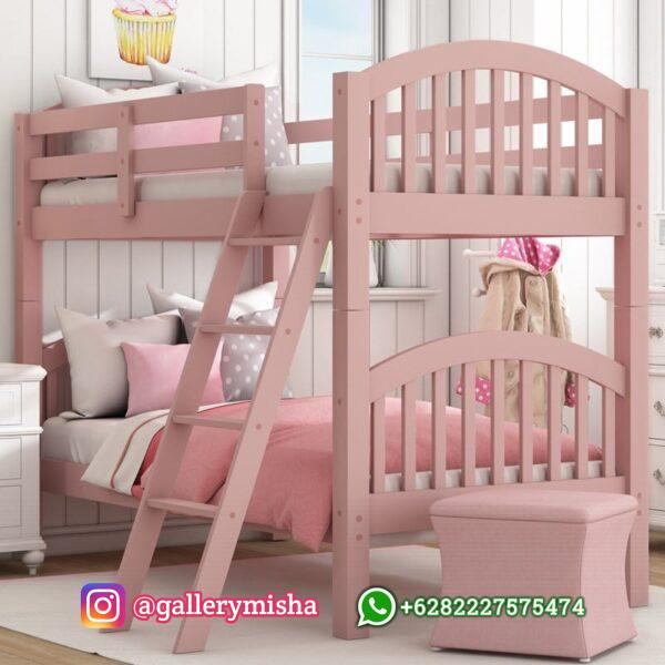 Ranjang Tingkat Anak Perempuan Pink