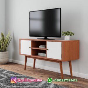 Meja TV Retro Kaki Tinggi dengan 2 Pintu