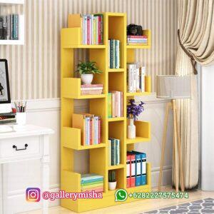 Rak Buku Minimalis Warna Kuning