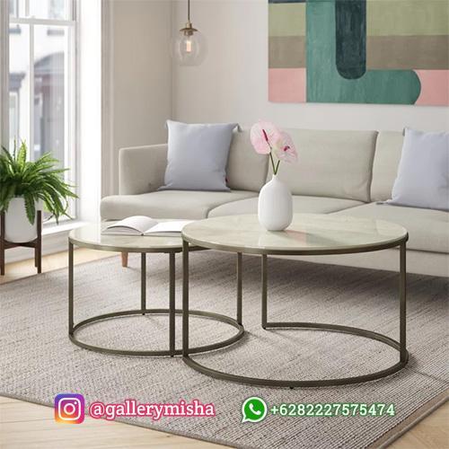 Coffee Table Bulat Top Marmer