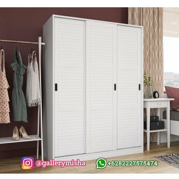 Lemari Baju Minimalis 3 Pintu Putih