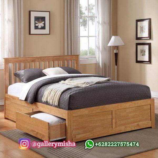 Tempat Tidur Kayu Jati Model Minimalis 2 Laci